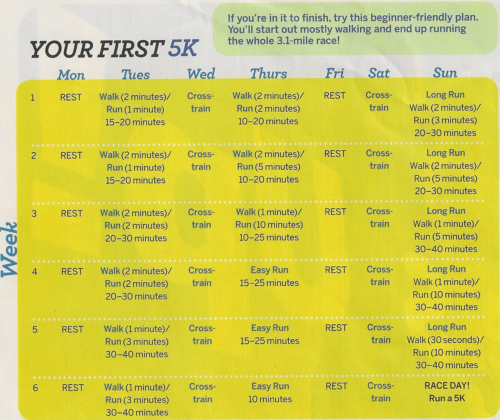 My 5k Training Schedule Laugh And Cook